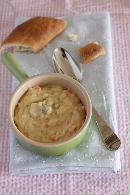 broccoli cheese soup and homemade baguette