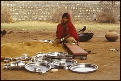 Ranakpur, Rajasthan, India in the dharmshala, After lunch 1982 (ianpwatkinson) Tags: india cooking girl temple jain mandir rajasthan thali ranakpur dharmshala