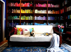 bookshelf spectrum, revisited (chotda) Tags: color colour book rainbow colorful spectrum library room pug myspace bookshelf bookshelves organization organize