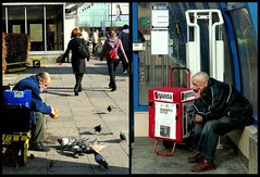 the other face of the city (wrrroah) Tags: poverty people man diptych pigeon candid poor poland polska double ugly warsaw juxtaposition warszawa streetshot blueribbonwinner