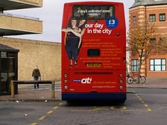 Peterborough buses 015 (FrMark) Tags: city uk girls red england bus buses back women day britain rear transport gb british peterborough citi