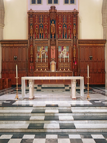 Saint Vincent de Paul Chapel, Cardinal Rigali Pastoral Center, in Shrewsbury, Missouri, USA - high altar.jpg