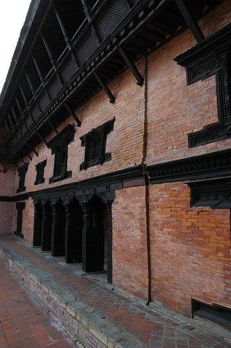 Freshly painted trim of a traditional brick buildings, architecture, Kathmandu, Nepal