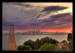 San Francisco & Bay Bridge (Mellard) Tags: sanfrancisco california sunset water landscape cityscape scenic explore baybridge bayarea yerbabuena hdr 5xp mellard