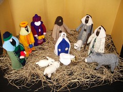 Nativity Scene (maisonburke) Tags: christmas joseph knitting handmade jesus donkey lambs virginmary threewisemen handicrafts nativity babyjesus holyfamily magi shepherds borninastable