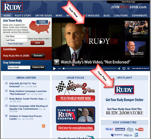 Rudy Giuliani for President website - main page