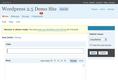 WordPress 2.5 Write Screen
