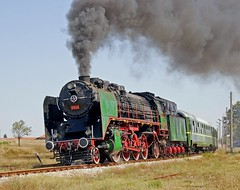 BDZ 2-8-2 steam locomotive 01 23, built in 1935 by Winterthur in Switzerland, runs past on a fantrip, southern Bulgaria, August 25, 2006 (Ivan S. Abrams) Tags: arizona 20d canon20d ivan eisenbahn trains bulgaria getty abrams railways trainspotting gettyimages railroads trens dampflok steamtrains smrgsbord tucsonarizona steampowered ferrovie chemindefer steampower steamlocomot