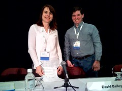 A pre-session photo of Search Engine Land's Venessa Fox and Sean Suchter.
