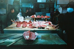 (bobby stokes) Tags: blue food fish film japan rollei japanese fuji market natura 1600 lightleak nagoya fujifilm analogue tuna maguro  urbanlife rollei35 fujicolor  natura1600   rollei35s fujinatura1600 fujicolour fujifilmnatura1600 fujicolornatura1600