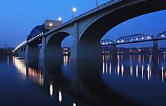 Bridges (Ellis Humphres) Tags: longexposure bridge blue reflection chattanooga water night river tennessee bridges walnutstreetbridge tennesseeriver rosslanding
