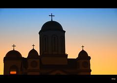 Church Silhouette (Linda Goodhue) Tags: sunset sky ontario church silhouette photoshop essexcounty border steeple windsor nikond80 nikcoloreffex mmmilikeit