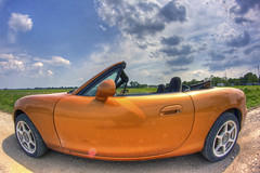 miata orange (davedehetre) Tags: road door portrait sky orange reflection car clouds self landscape countryside spring horizon wheels nb fisheye kansas miata hdr gravel springtime