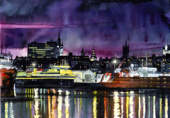 Aberdeen Harbour (CatMacBride) Tags: ireland dublin night painting lights harbour aberdeen watercolour 24 irishartist tallaght aworkofart colourartaward catherinemacbride catmacbride dublinartist tallaghtartist welcomeuk