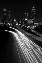 Gotham, South (Nrbelex) Tags: road longexposure atlanta blackandwhite bw white black skyline canon buildings georgia blackwhite 2470mml highway cityscape atl headlights explore atlantaskyline dslr atlantaga atlantageorgia roadway traffictrails 2470mm jacksonstreetbridge jacksonstreet 2470mmf28 xti ef2470mm 400d nrbelex haylookit