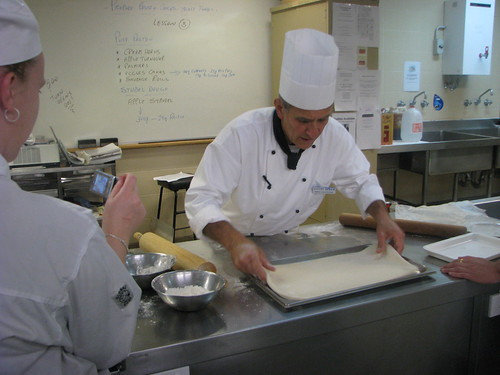 Students film Rino in the kitchen