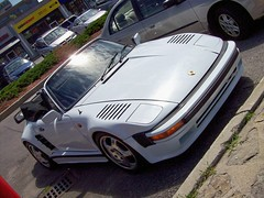 A customized Porsche 911 Turbo 930-type... (Steve Brandon) Tags: auto ontario canada car geotagged parkinglot automobile ottawa 911 convertible voiture turbo porsche suburb custom nepean  stripmall germancar sportscar 930 porsche911 cashmoney dutchangle customcar stationnement exoticcar  whitecar westernunion    flatnose   flachbau   porsche930  merivaleroad  merivalerd ruemerivale x83 cheminmerivale   capilanodrive derflachbau