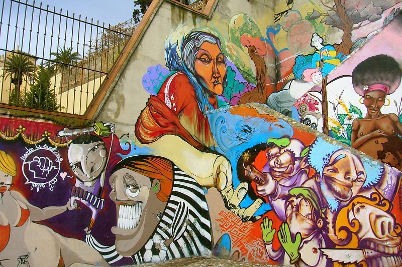 Granada, staircase to Mirador S. Cristobol