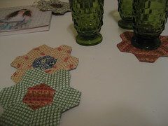quilted coasters + juice cups