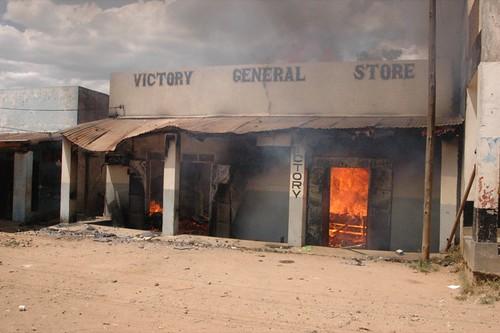 Burned store