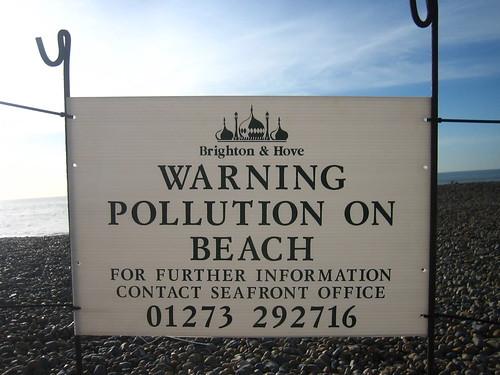 Warning: pollution on beach