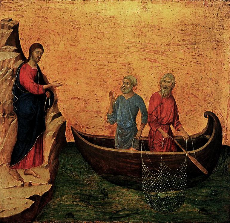 DUCCIO di Buoninsegna Calling of Apostles Peter and Andrew 1308/1311