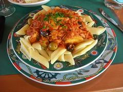 Pasta at a restaurant in Geneva airport