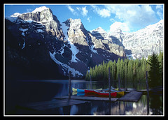 Morning at Moraine Lake (sjb4photos) Tags: canada alberta banffnationalpark morainelake iamcanadian glaciallake valleyoftenpeaks alltypesoftransport visipix