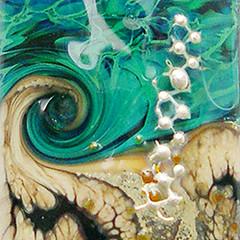 Close Up (NorthSeaGlass) Tags: blue green beach glass handmade badge bead swirls organic lampwork focal northseaglass