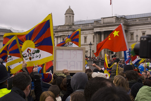 Tibetan Flags Much In Evidence
