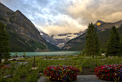 Lake Louise Dawn (melmark44) Tags: lake canada green nature water reflections landscape outdoors azure fluffy wideangle glacier alberta banff lakelouise banffnationalpark glacial icefieldsparkway canadianrockies victoriaglacier tourquoise fluffyclouds glaciallake rockflour louisecreek canonef1635mmf28liiusm 1635mmf28lii lefroyglacier lakelouiseoutflowchannel melmarkowitz 2007melvinmarkowitz 2007melvinmarkowitzallrightsreserved