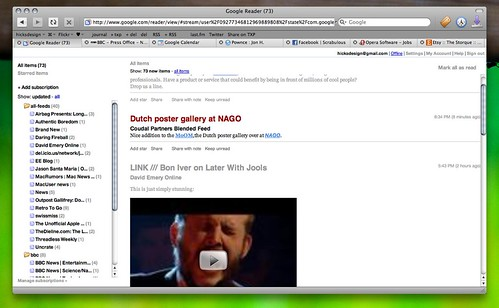 A screenshot of the Google Reader theme in use