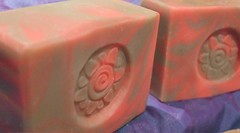 Warm Vanilla Sugar soap, with a pink and brown swirl