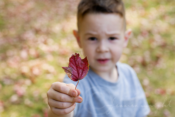 Nathaniel showing me his RED leaf