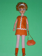 THOROUGHLY MODERN SINDY (Altered Image Dolls) Tags: orange white vintage hair mod 60s doll auburn curly pedigree sindy ricrac rerooted