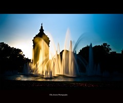 The fountain I (Ulla Jensen Photography) Tags: park longexposure flowers sunset water fountain silhouette germany watertower mannheim nikond7000 springwasser wwwullajensencom