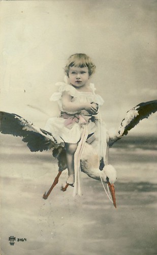 Vintage Postcard ~ Girl on Bird by Chicks57 on Flickr
