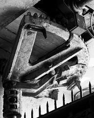 gatekeeper bw (diesmali) Tags: monochrome metal rust bars gate sweden rusty cha spikes norrkping mechanism greyscale stergtland industrilandskapet canoneos40d johanklovsj
