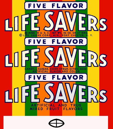 LifeSavers roll wrapper - Five Flavor - 1950's
