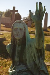 Rock Creek Cemetery - statue with lifted hand - close up (Tiz_herself) Tags: cemeteries face cemetery graveyard statue washingtondc nikon hand graveyards tomb tombstone statues copper monuments statuary tombstones tombs rockcreekcemetery d40x