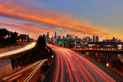 Amazing Saturday for Photography Part 8 (David M Hogan) Tags: seattle sunset night long exposure cityscape headlights lighttrails soe taillights blend flickrsbest davidhogan diamondclassphotographer