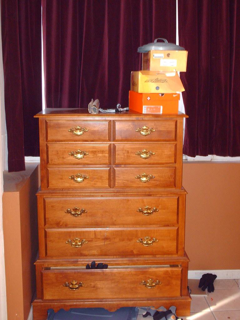 oak 6 drawer high chest