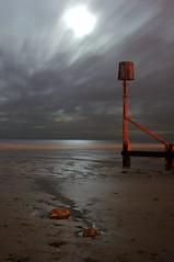 A different world (~Glen B~) Tags: uk sea england moon art beach night clouds sand long exposure britain stones cleveland groyne teesside redcar groynes bbok