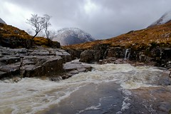As the Snow Melts (ericwyllie) Tags: mist snow mountains rain canon river landscape 350d scotland waterfall eric rapids glencoe 2008 buachaille torrent noswimming glenetive rannochmoor buachailleetivemor highwinds ericwyllie