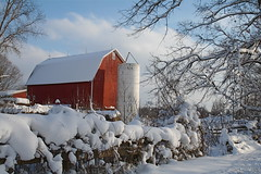 Red Barn with Silo (marylea) Tags: winter red snow barn rural landscape midwest michigan january scene silo portfolio 2008 picturesque redbarn betterthangood jan32008