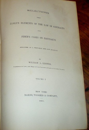 The Law of Contracts Inside Cover