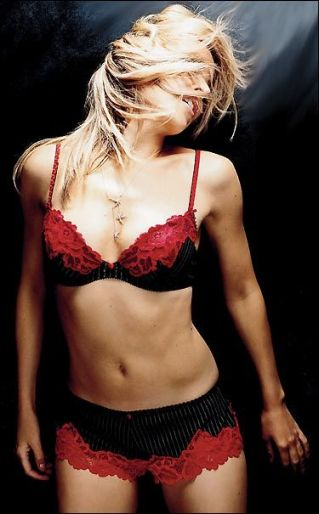 lingerie underwear Kylie Minogue red bra black red boy shorts panties