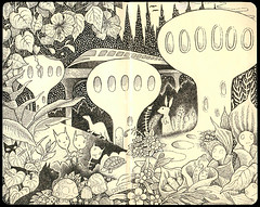 Images of Heaven (part 3) (pageofbats) Tags: illustration heaven monorail moleskin