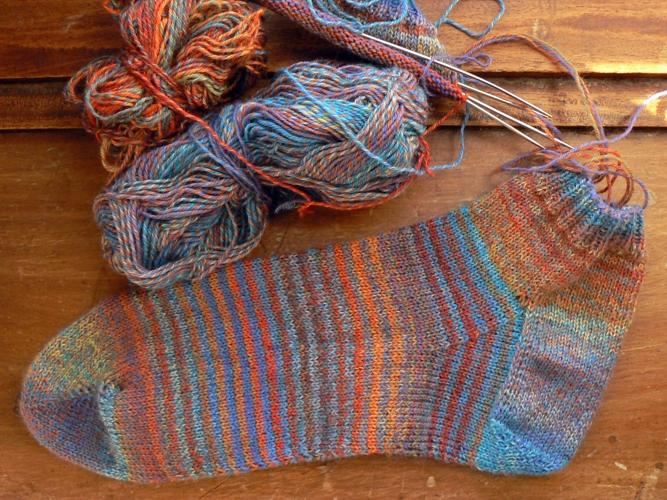 leftover trekking sock WIP