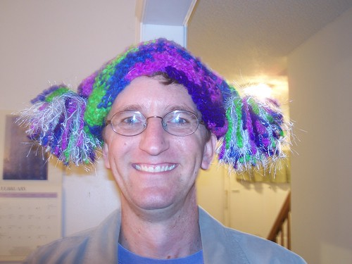 John modeling my crazy hat!